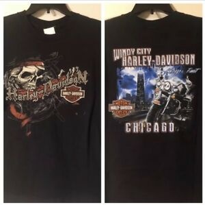 1abd96a6408 Image is loading HARLEY-DAVIDSON-Windy-City-Chicago-Pirate-Motorcycle-Mens-