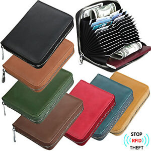 Men-039-s-RFID-Block-Genuine-Leather-Secure-Credit-Card-Holder-Large-Capacity-Wallet