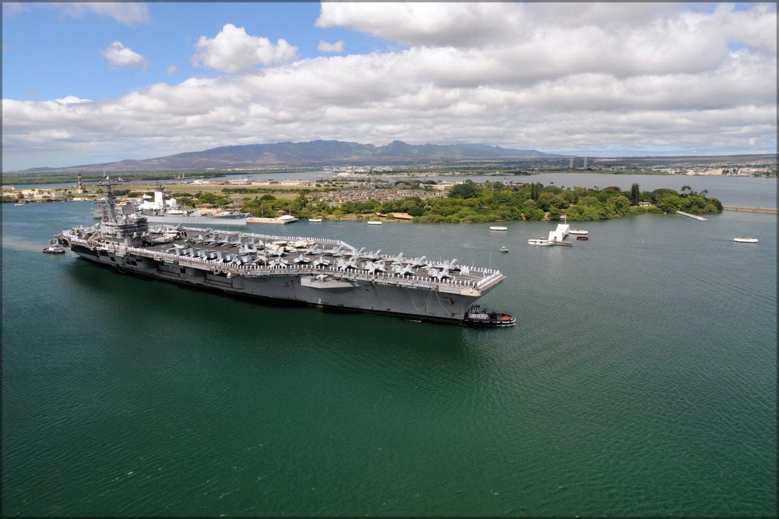 Poster, Many Dimensiones; Uss Arizona Memorial & Uss Ronald Reagan Pearl Harbor, Hawai