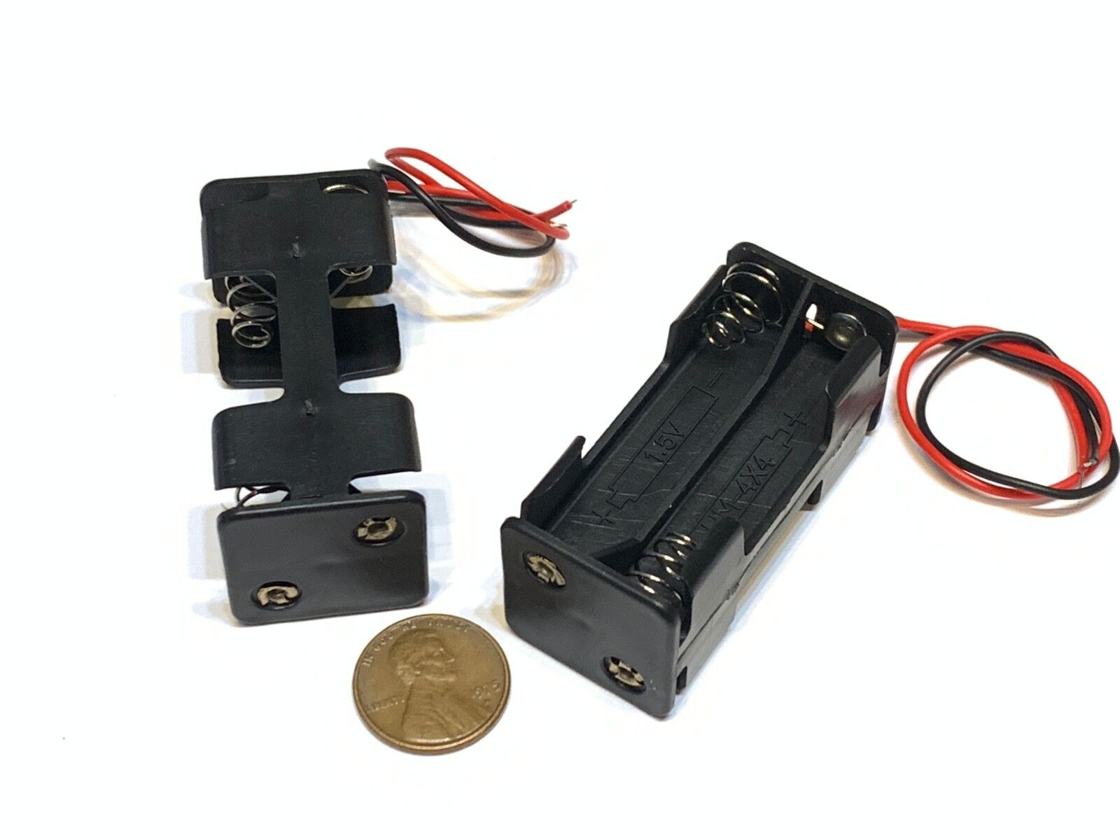 2 Pieces aaa battery holder Double Layers Back to back 4 four wire leads 6v C16