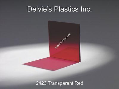 "CNC CUT ACRYLIC//PLEXIGLASS SHEET RED TRANSPARENT#2423 3//8/"" X 6 /""X 24/"" RARE"
