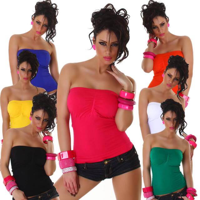 Bandeau-Top sexy Party Freizeit Shirt Sommer Oberteil Damen Strand Gogo Größe
