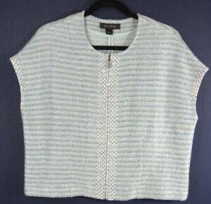08b299427b257 NEW St John Gleam Metallic Knit Short-Sleeve Jacket in Blue Combo ...