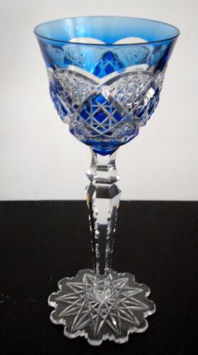 VAL ST LAMBERT VERREPT LT BLUE CASED CUT CLEAR CRYSTAL LIQUER CORDIAL