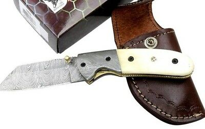 HANDMADE DAMASCUS STEEL HORNS /& WOOD HANDLE 3x POCKET KNIVES WITH LEATHER POUCH