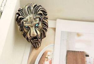UK-VINTAGE-GOLD-LION-WITH-BLUE-EYES-RING-P-8-JEWELLERY-GOTHIC-EMO-MEN-ROAR