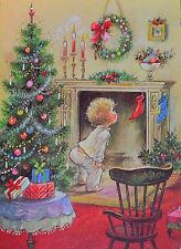 Vintage UNUSED *GLITTERED* CHILD Looking For SANTA FIREPLACE TREE Christmas Card