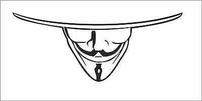 V for VENDETTA Anonymous Mask Guy Guido Fawkes decal sticker vinyl wall art V4