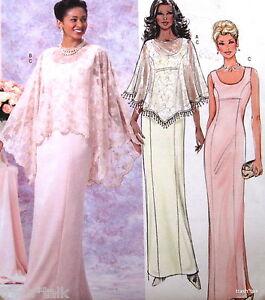 Women formal evening gown dress pattern shawl cover sz 8 10 12 14 ...