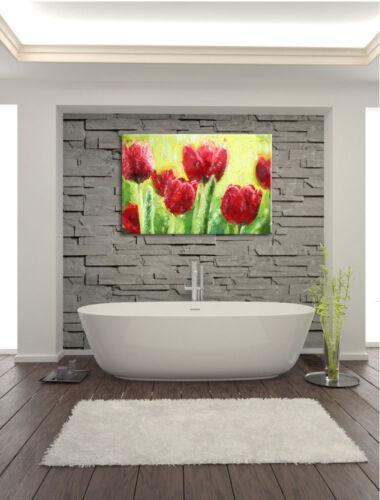 Rote Tulpen mit Tropfen bedeckt Leinwandbild Wanddeko Kunstdruck