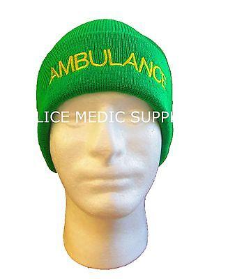 AMBULANCE Beanie Woolly Hat GREEN for Paramedic St John Medic EMT 999 Nurse