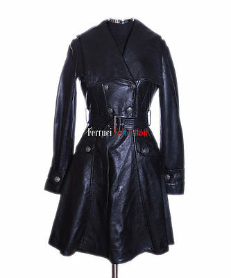 Elektra Black Ladies Military Designer Real Soft Lambskin Leather Flare Coat