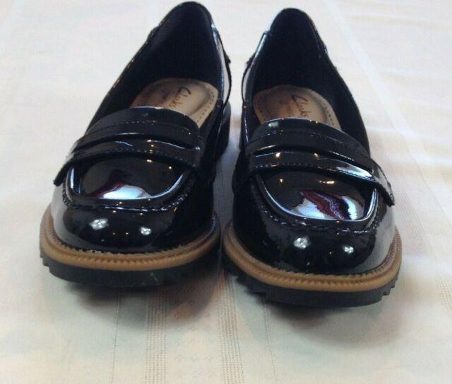CLARKS SOMERSET Black Patent Leather Soft Bottom Slip-On ...