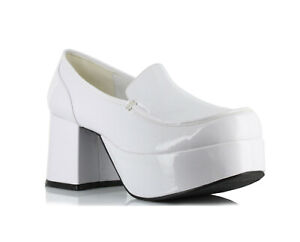 Ellie 312-DADDIO Men White Pimp Disco Costume Cosplay Heel Platform Shoe Loafer