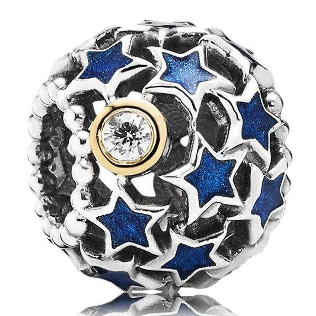 Pandora Charm Element 791371 CZ Nachthimmel Silber Gold Bead