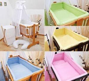 7 teile wiege baby bettw sche set 90x40 himmel wiege f r. Black Bedroom Furniture Sets. Home Design Ideas