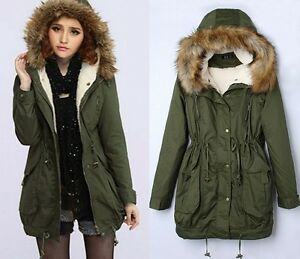 Womens Green Parka Jacket With Fur Hood
