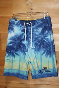 9b634804a5 Mens CORONA EXTRA Beer Board Blue Swim Shorts Trunks Size 32 Sunset ...