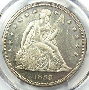 1859 Seated Liberty Silver Dollar $1 - PCGS Uncirculated Detail (UNC MS) - Rare!