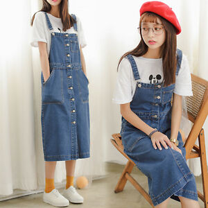 27cc4f279d Image is loading Women-Korea-Denim-College-Overall-Skirt-Jumpsuit-Button-