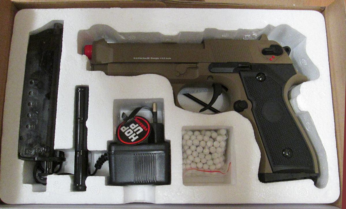 Elektrische GSG Softairwaffe Softairpistole Softair Softair Softair Pistole M92 AEP TAN 205030 66a058