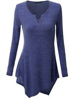 Womens Ladies Casual Long Sleeve Tops Shirt V Neck Loose T-shirt Blouse Tee Top