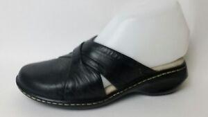 Soft-Spots-Leather-Black-Mules-Womens-5-5-M-Slip-On-Clog-Wedge-Shoe-Comfort-Work