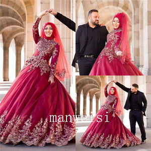 Long sleeve applique beads ball gown wedding dresses bead muslim image is loading long sleeve applique beads ball gown wedding dresses junglespirit Gallery
