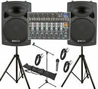 """QTX 800W 8 Channel Band / Vocal PA System With 15"""" Active Speakers & Stands"""