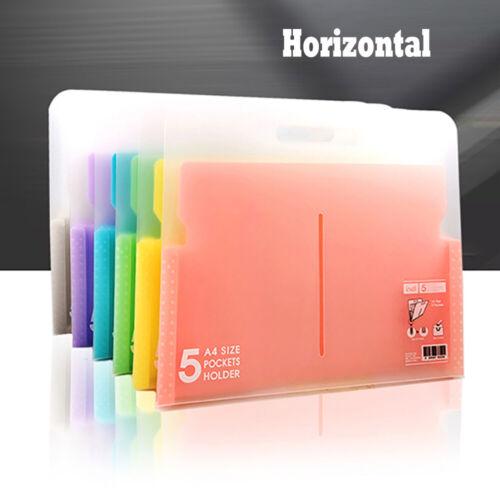 Plastic Expanding File Case Paper Organizer 5 Pockets Document Bag File Folder