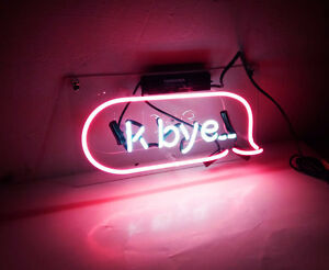Image Is Loading 034 K Bye Pink Neon Light Sign