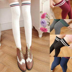 efb9b54bd65 UK Women Girl Stripe Stripy Striped Over Knee Thigh High Stockings ...