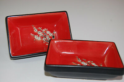 VISUN China Dishes Red with Black Oriental Bowls White Flowers - Set of 2  EUC