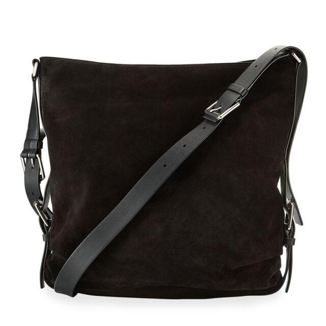 aa83e84794e8 Michael Kors Collection Naomi Medium Hobo Suede Shoulder Bag Leather Black