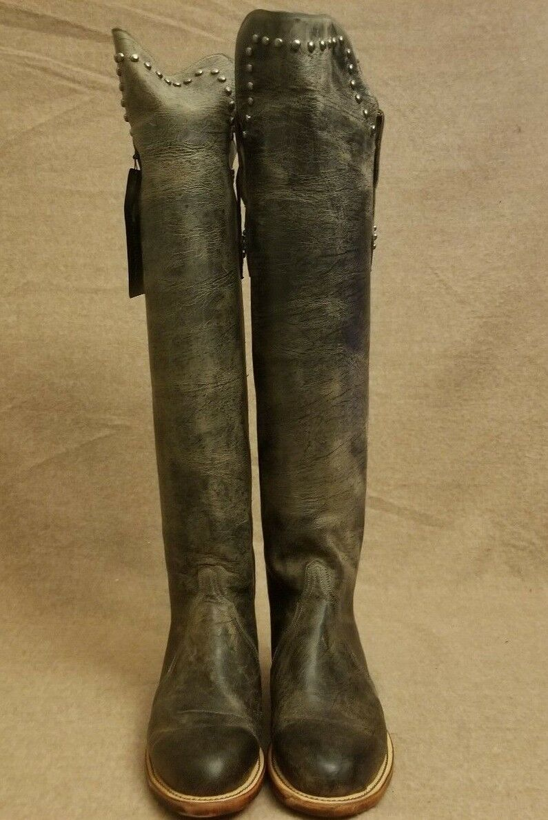 New Lucchese Women Rustic Stud Gray  Leder On Riding Tall Knee Pull On Leder Stiefel Sz 8B 899861