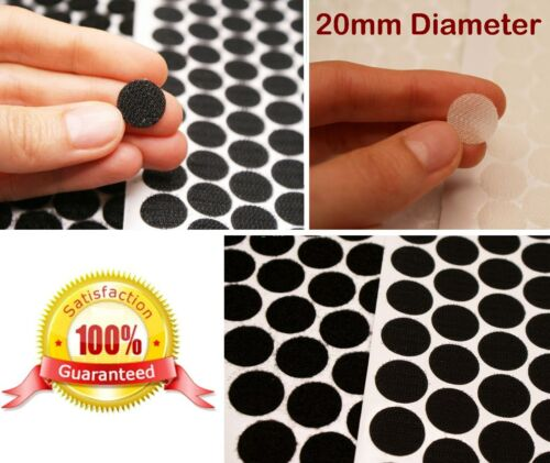 BLACK or WHITE ~ 20mm Diameter ~ Adhesive HOOK AND LOOP Tape Coins Dots Circles