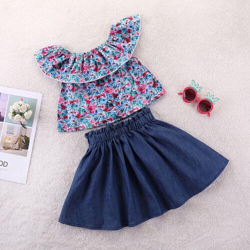 2Pcs Toddler Kids Baby Girls Outfits Clothes Set T-shirt Tops+Denim Skirts Dress