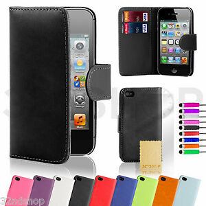 NEW-WALLET-LEATHER-CASE-COVER-FOR-IPHONE-4-4S-FREE-SCREEN-PROTECTOR-STYLUS