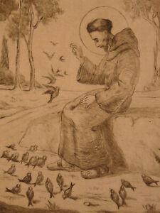Enthousiaste Saint Homme Nourissant Des Oiseaux Eau-forte Signée Et Datée 1925 Art Deco Clair Et Distinctif