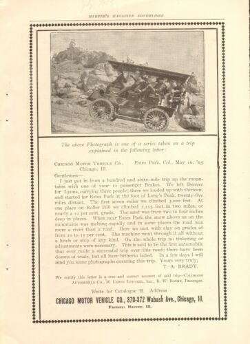 1903 CHICAGO MOTOR VEHICLES ORIG VINTAGE CAR AD