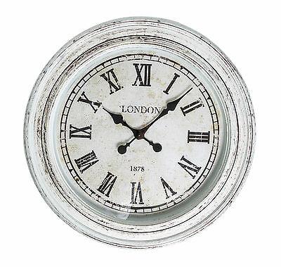'CASA UNO' Rustic Style Round Wall Clock Featuring Roman Numerals (2 Colours)
