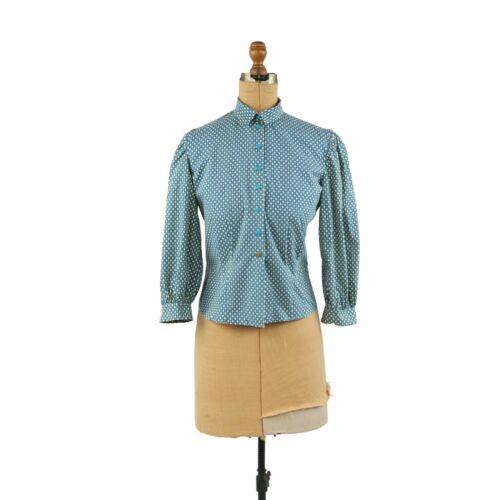 Vintage 40s 50s Teal Blue Cotton Diamond Novelty P