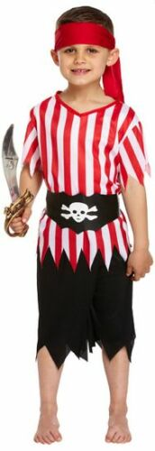 Boys 4 Piece Red White Pirate Party Book Day Fancy Dress Costume Outfit 4-12 yrs