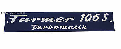FENDT Schild Motorhaube  Farmer 106 LS Turbomatik  Alu geprägt NEU