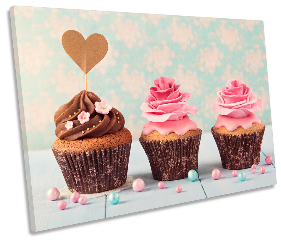 Cup Cakes Kitchen CANVAS WALL ART Picture Print Single