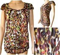 New Ex Per Una Ladies Multi Colour Chiffon Short Sleeve Casual Top Size 10 - 18