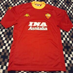 Vintage-2000-Kappa-AS-Roma-Soccer-Jersey-Football-Shirt-Men-039-s-XL-Tight-Fit-M