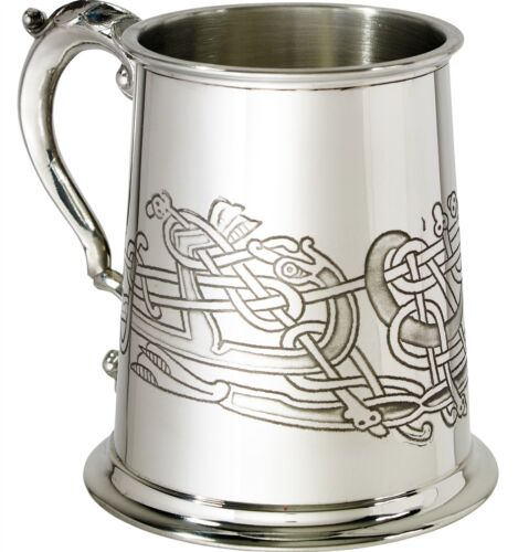 1 Pint Pewter Beer Tankard with Celtic Birds Design Scroll Handle