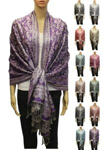 Tassel-Shiny-Glitter-Long-Striped-Pashmina-Shawl-Scarf-Wrap-Evening-Leaf-Paisley