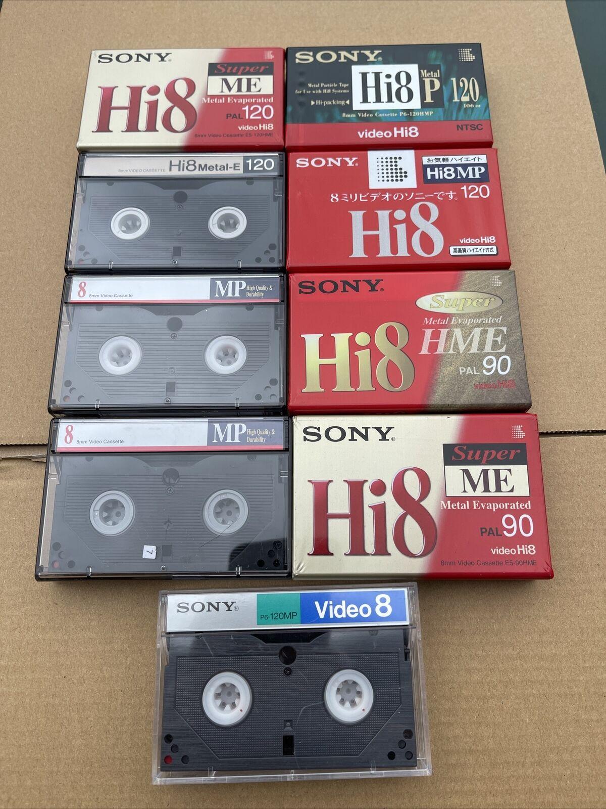 Sony Hi8 Video 8 Tape Bundle X 9 Tapes